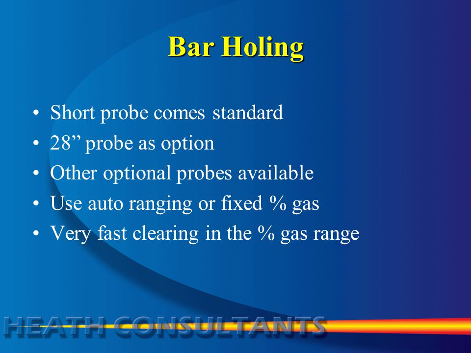 Bar Holing Short probe comes standard 28 probe as option