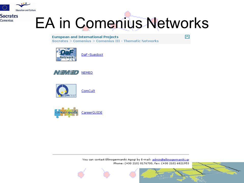 EA in Comenius Networks