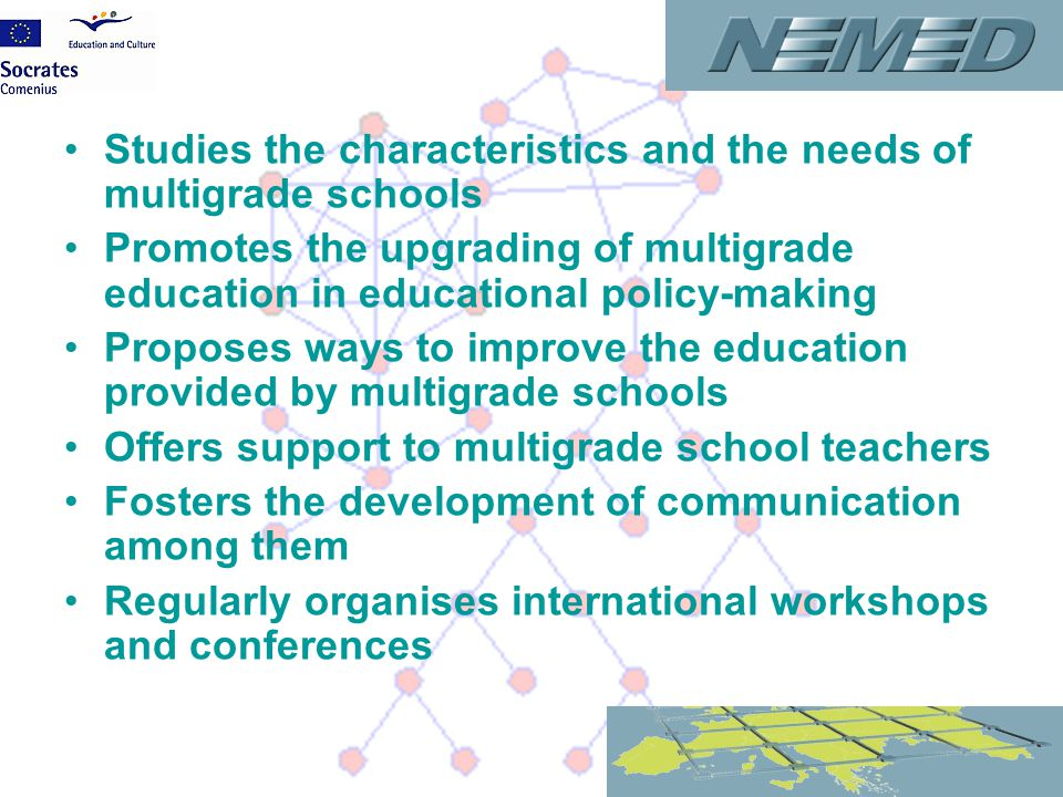 Studies the characteristics and the needs of multigrade schools