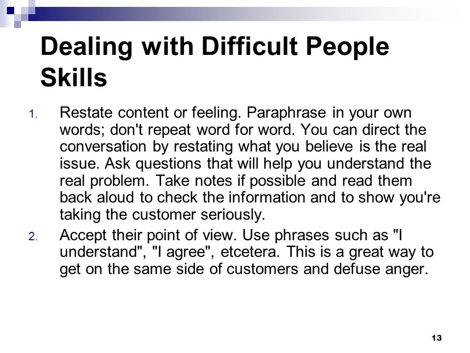 Dealing with Difficult People Skills