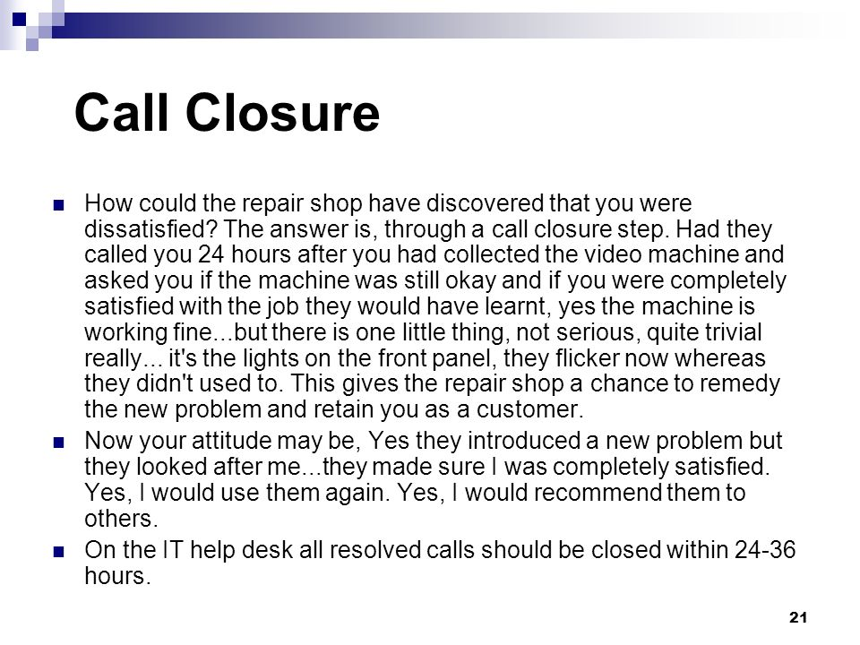 Call Closure