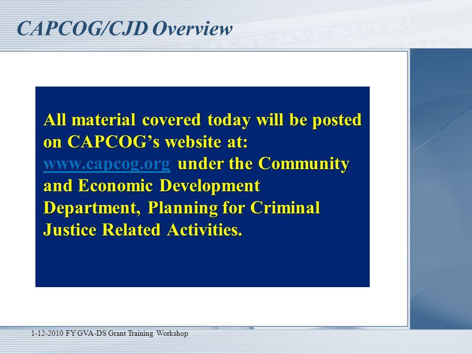 CAPCOG/CJD Overview