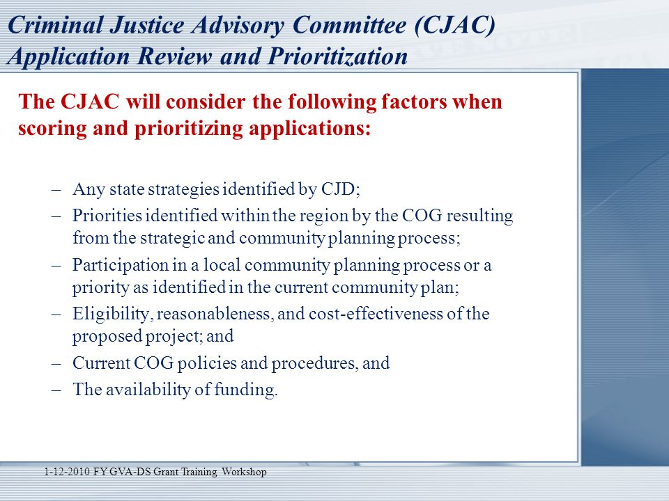 Criminal Justice Advisory Committee (CJAC) Application Review and Prioritization