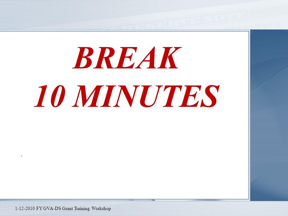 BREAK 10 MINUTES . 1-12-2010 FY GVA-DS Grant Training Workshop