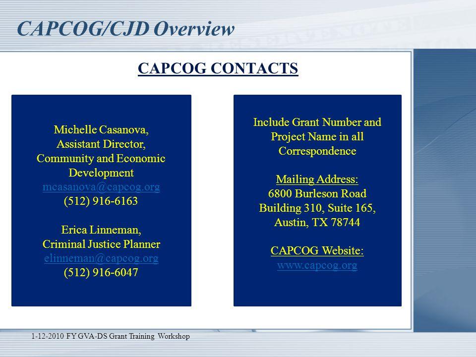 CAPCOG/CJD Overview CAPCOG CONTACTS