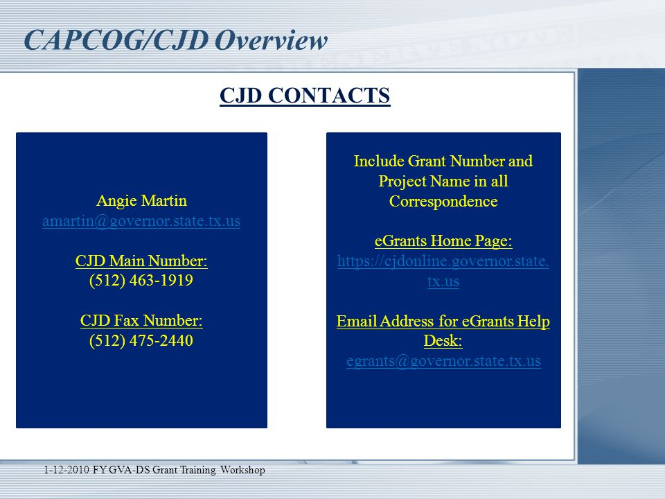 CAPCOG/CJD Overview CJD CONTACTS