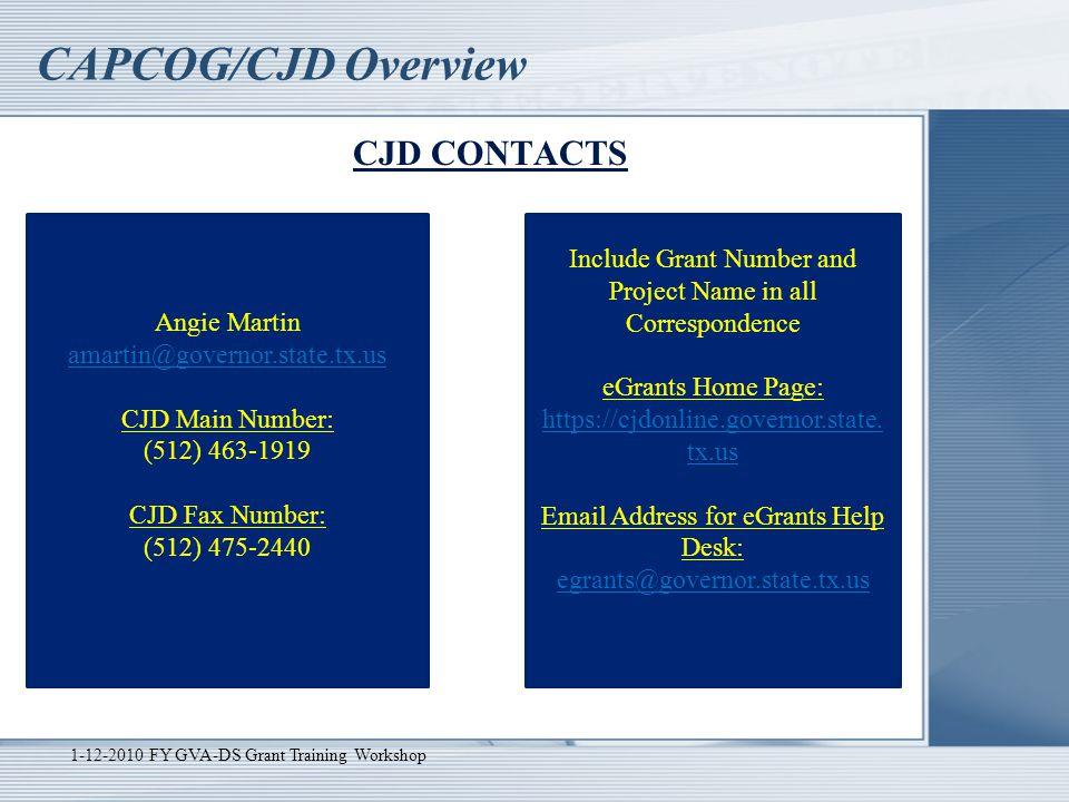 CAPCOG/CJD Overview CJD CONTACTS