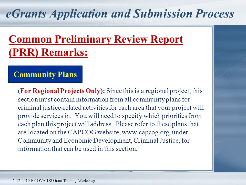 eGrants Application and Submission Process