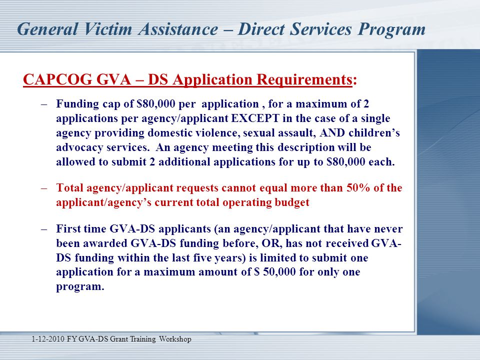 General Victim Assistance – Direct Services Program