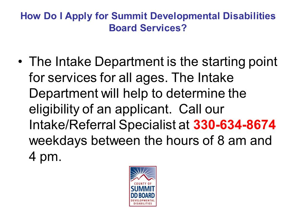 How Do I Apply for Summit Developmental Disabilities Board Services