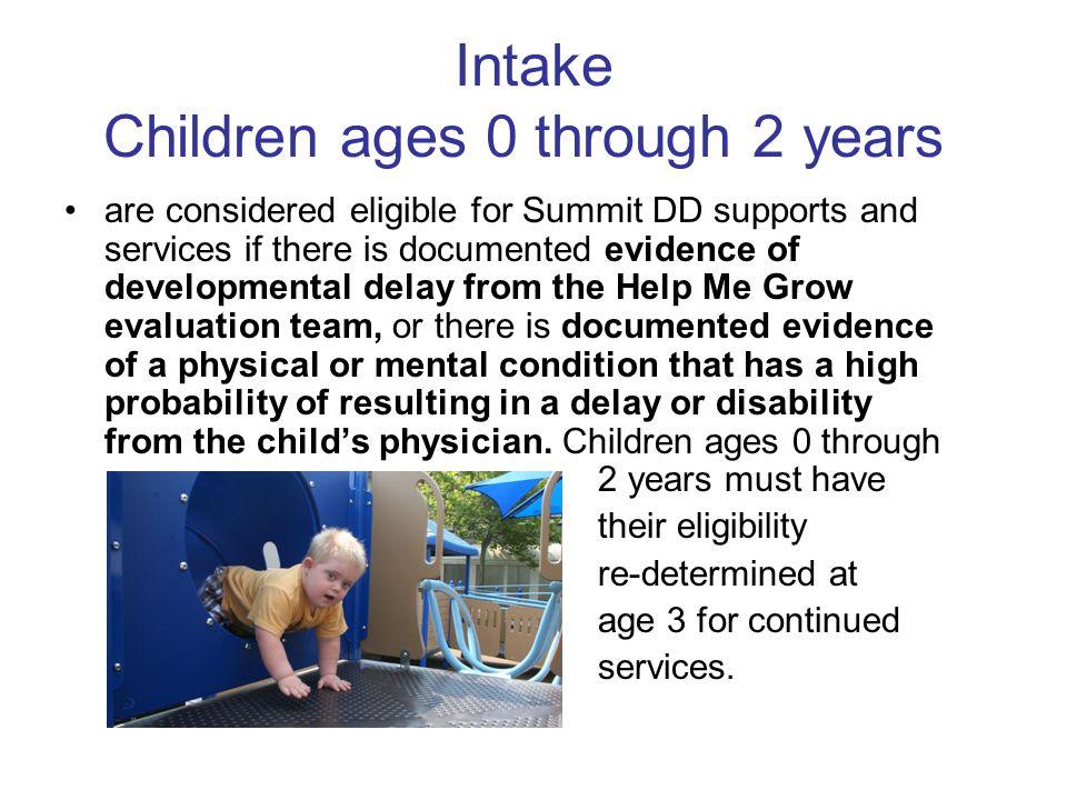 Intake Children ages 0 through 2 years