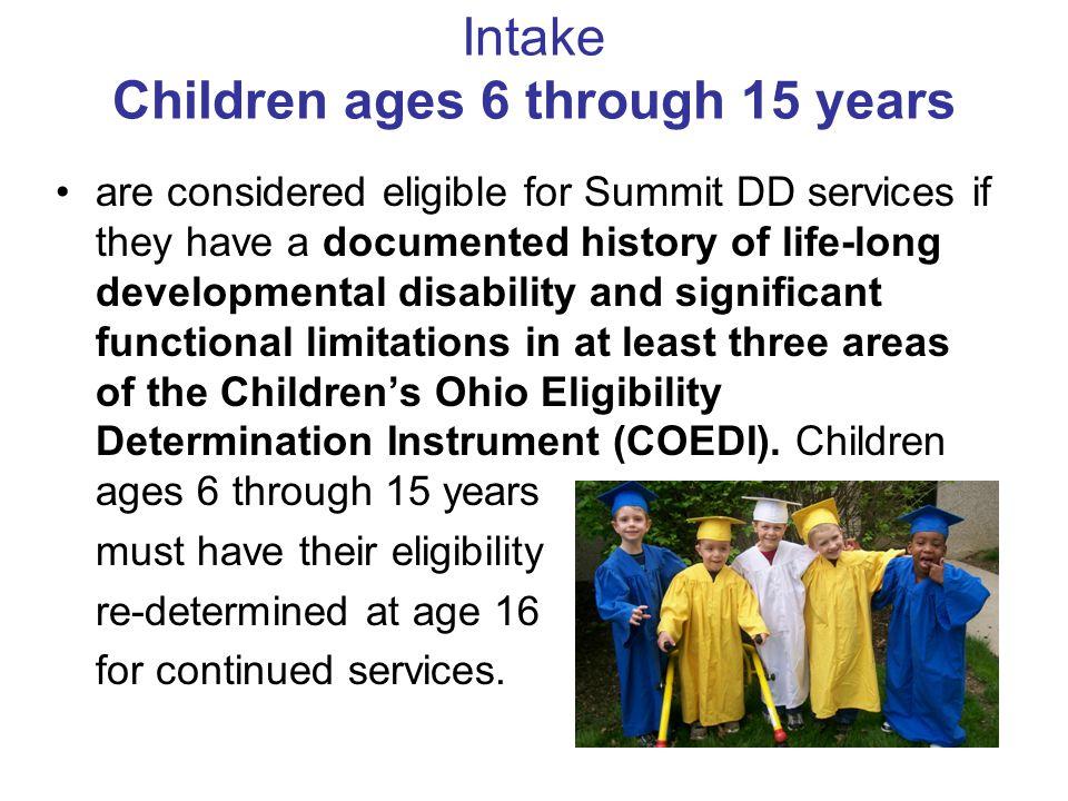Intake Children ages 6 through 15 years