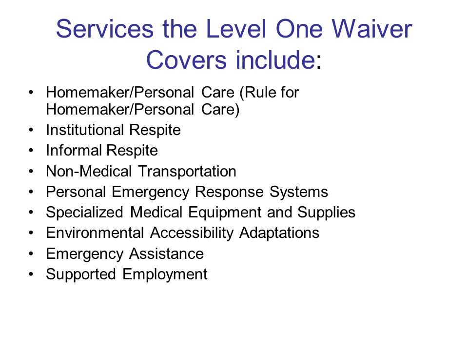 Services the Level One Waiver Covers include: