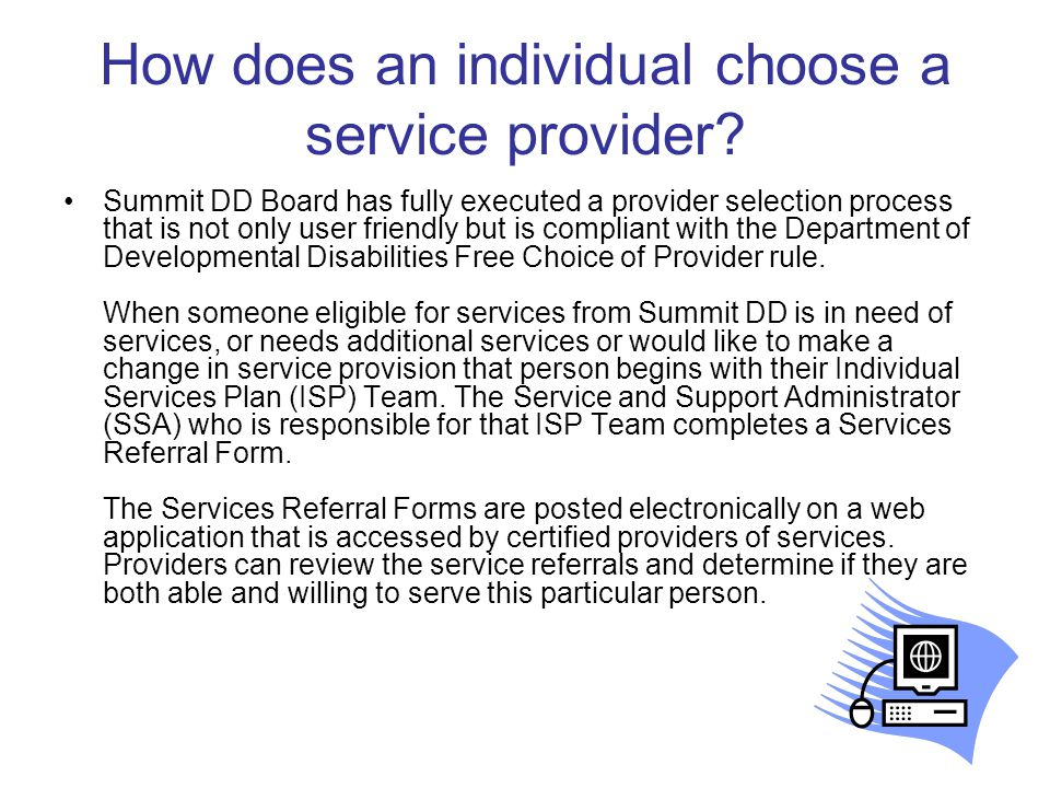 How does an individual choose a service provider