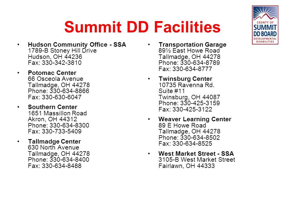 Summit DD Facilities Hudson Community Office - SSA 1789-B Stoney Hill Drive Hudson, OH 44236 Fax: 330-342-3810.