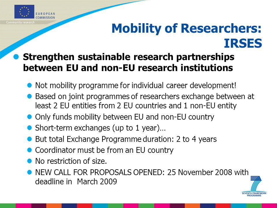 Mobility of Researchers: IRSES