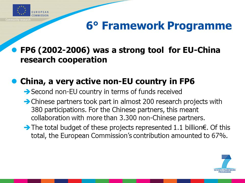 6° Framework Programme FP6 (2002-2006) was a strong tool for EU-China research cooperation. China, a very active non-EU country in FP6.