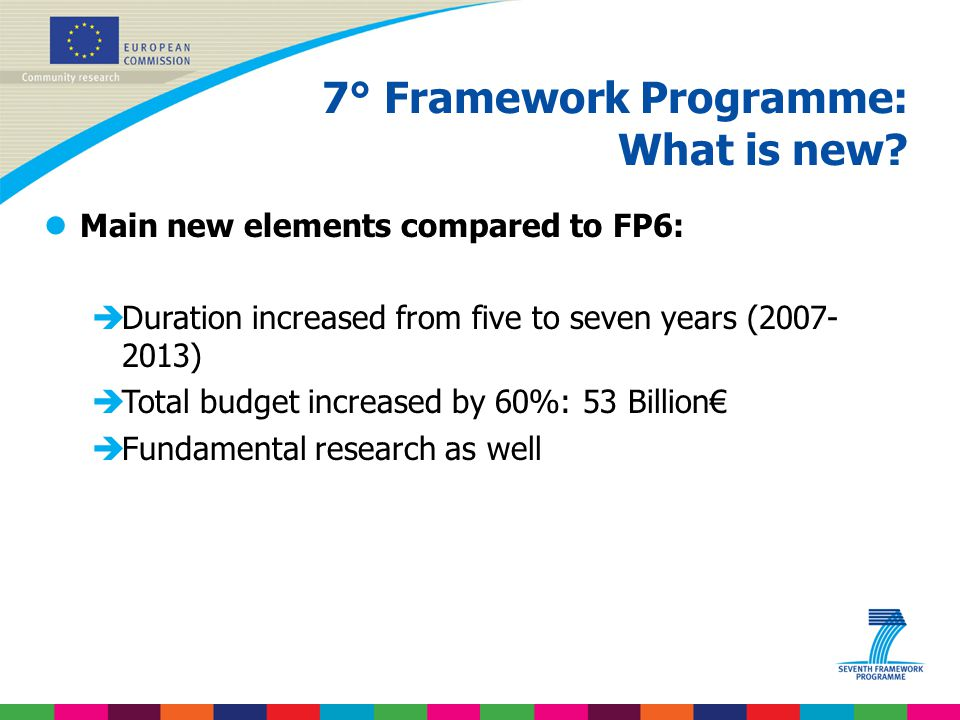 7° Framework Programme: What is new
