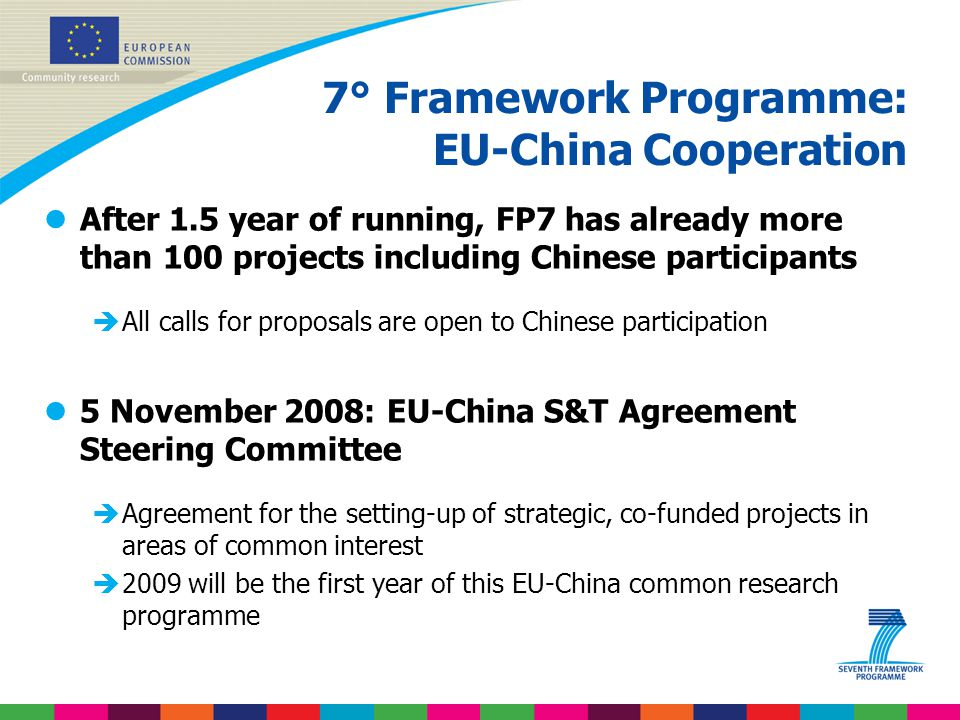 7° Framework Programme: EU-China Cooperation