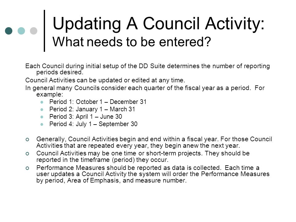 Updating A Council Activity: What needs to be entered