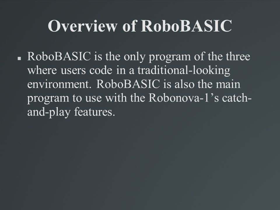 Overview of RoboBASIC