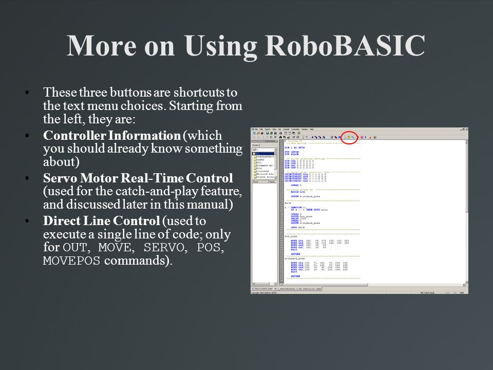 More on Using RoboBASIC