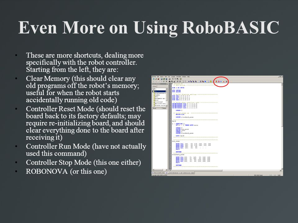 Even More on Using RoboBASIC
