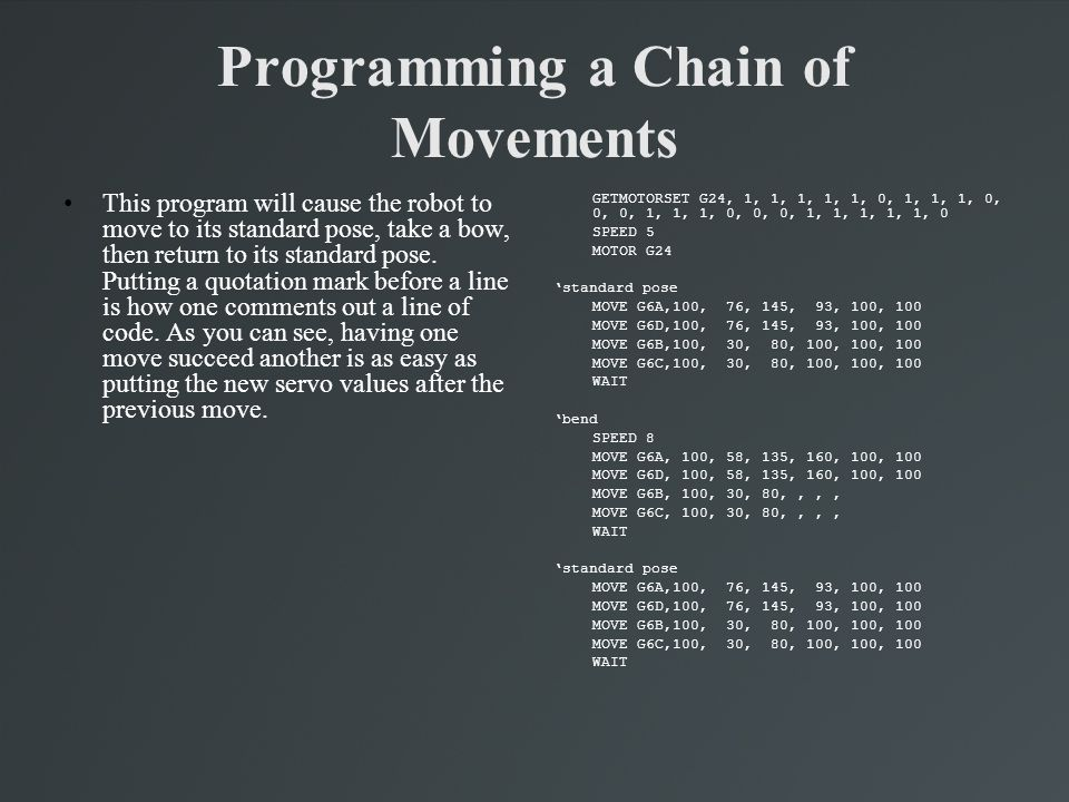 Programming a Chain of Movements