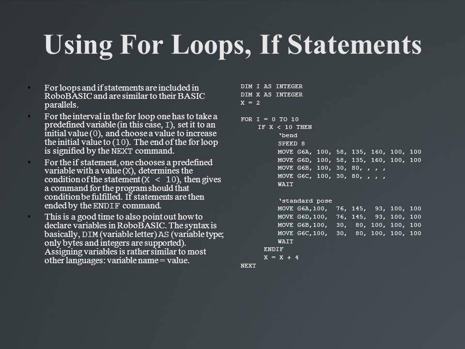 Using For Loops, If Statements