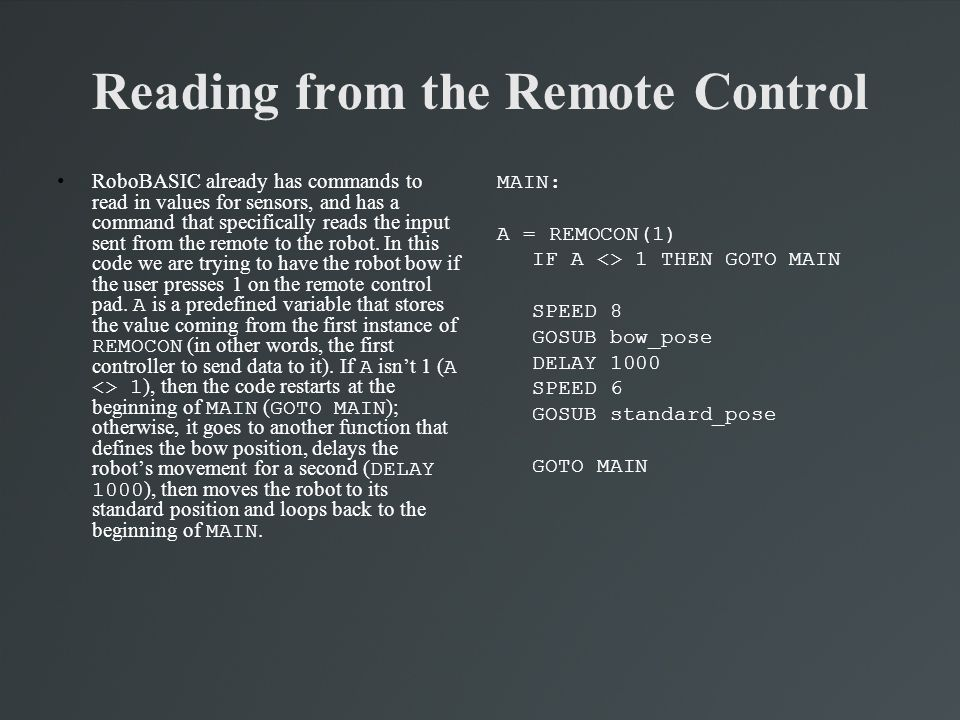 Reading from the Remote Control