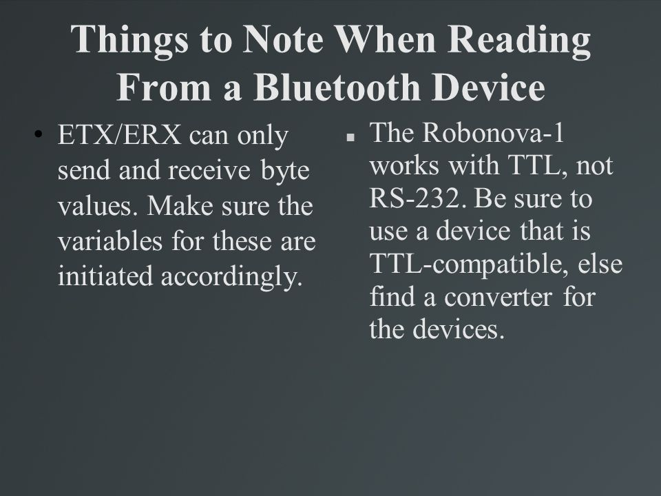 Things to Note When Reading From a Bluetooth Device