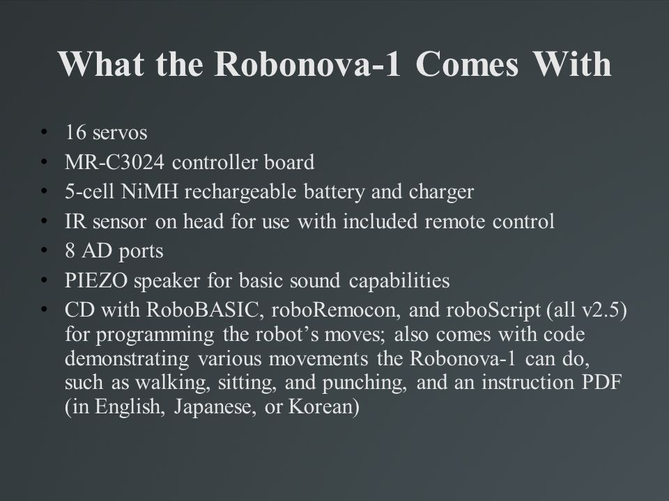What the Robonova-1 Comes With