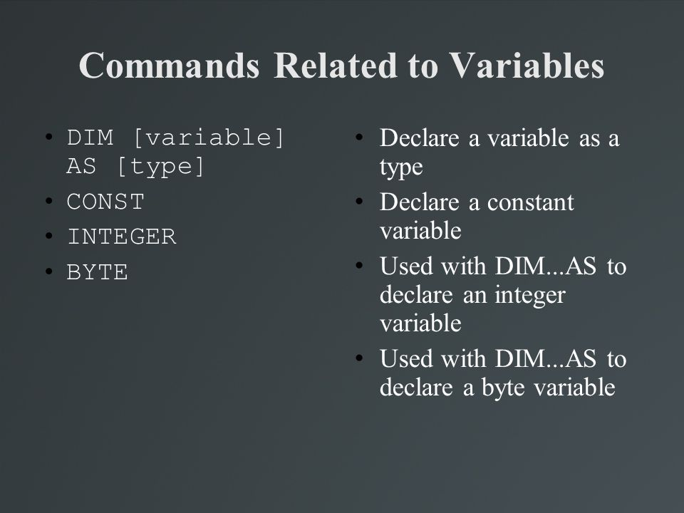 Commands Related to Variables