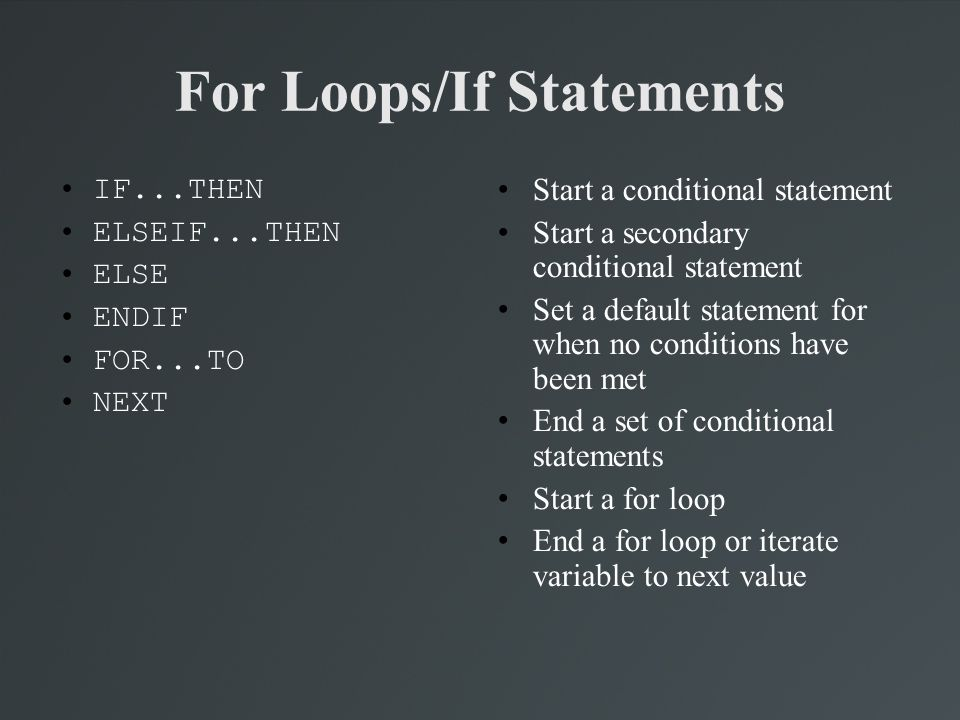 For Loops/If Statements