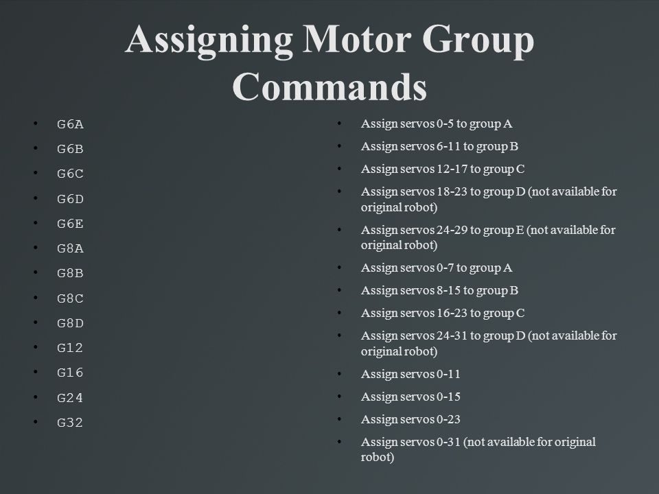 Assigning Motor Group Commands