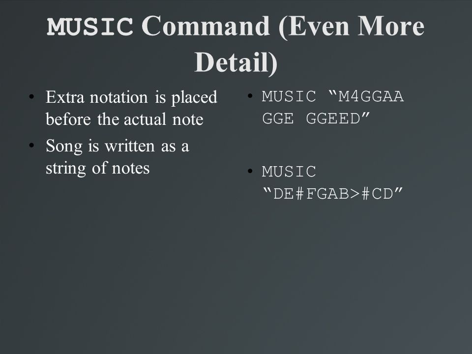 MUSIC Command (Even More Detail)‏