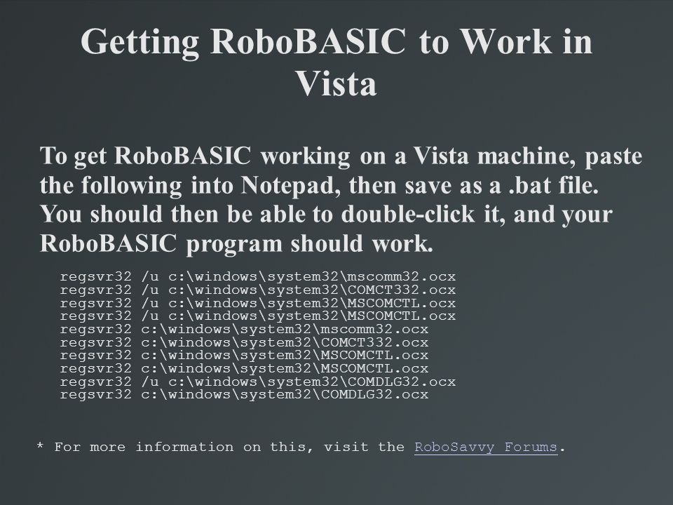 Getting RoboBASIC to Work in Vista