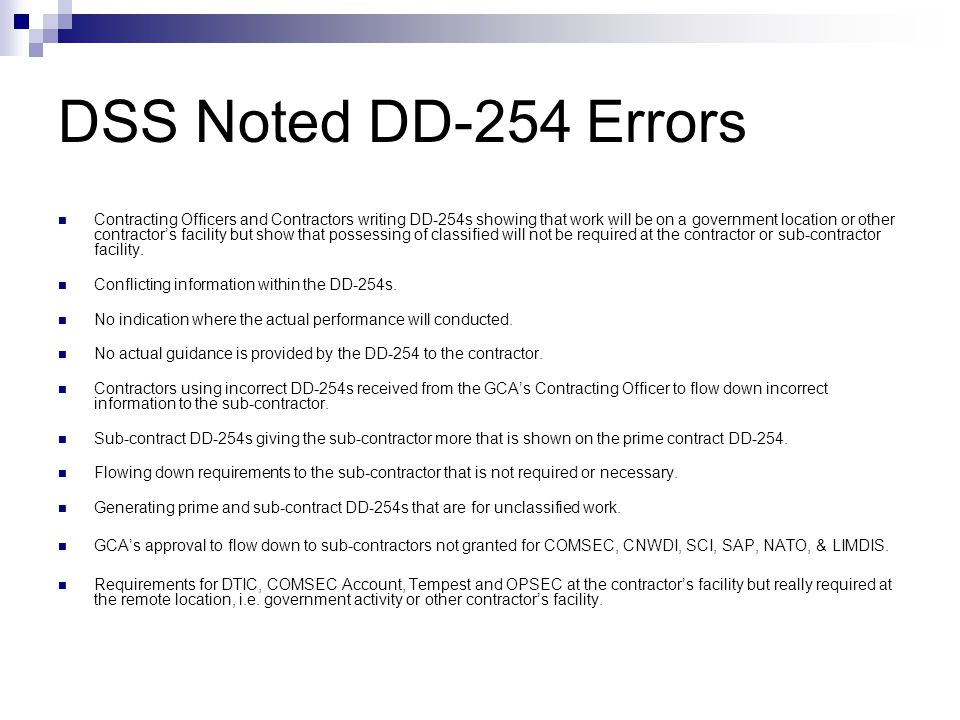 DSS Noted DD-254 Errors