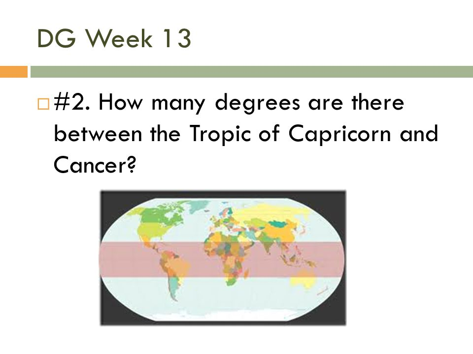 DG Week 13 #2. How many degrees are there between the Tropic of Capricorn and Cancer