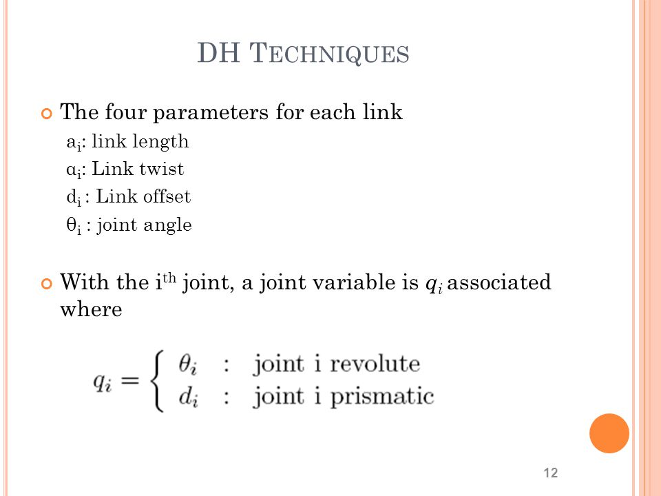 DH Techniques The four parameters for each link
