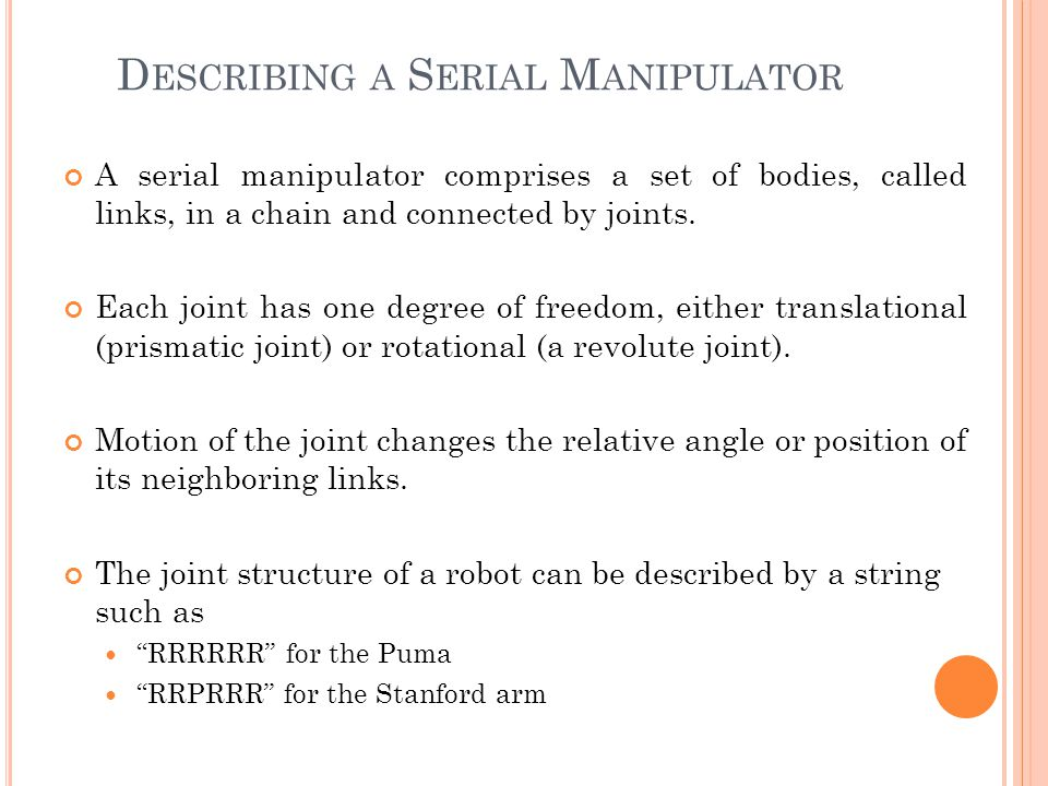 Describing a Serial Manipulator