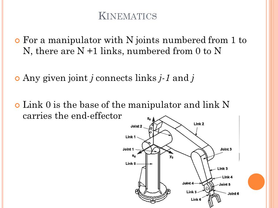 Kinematics For a manipulator with N joints numbered from 1 to N, there are N +1 links, numbered from 0 to N.