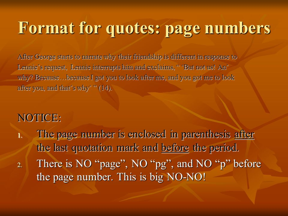 Format for quotes: page numbers