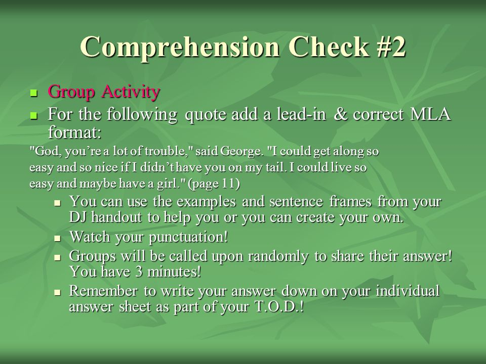 Comprehension Check #2 Group Activity
