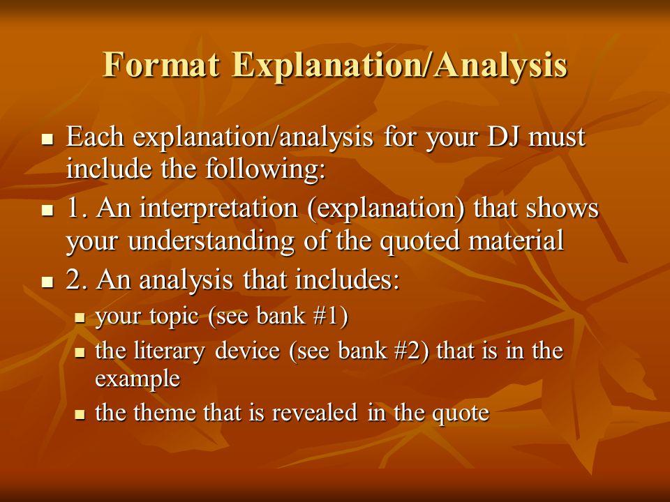 Format Explanation/Analysis