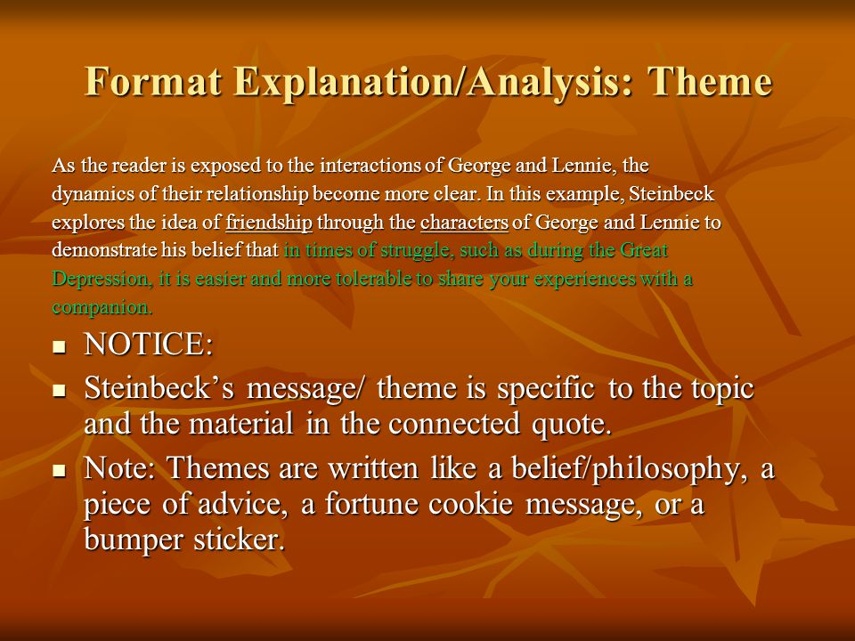 Format Explanation/Analysis: Theme