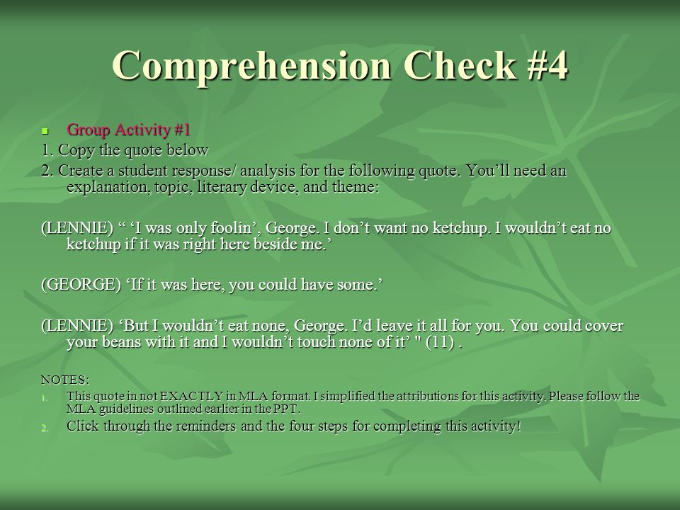 Comprehension Check #4 Group Activity #1 1. Copy the quote below