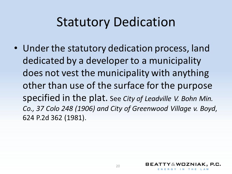 Statutory Dedication