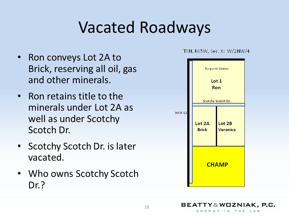 Vacated Roadways Ron conveys Lot 2A to Brick, reserving all oil, gas and other minerals.