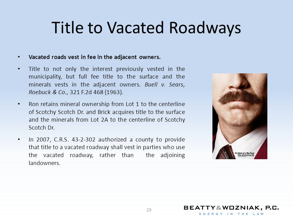 Title to Vacated Roadways